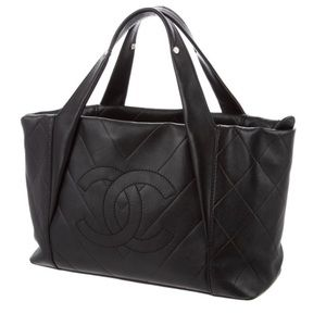 CHANEL CC Calf Skin Quilted Handle Bag